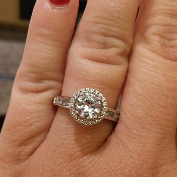 Kay Jewelers Jewelry White Sapphire Engagement Style Halo Ring Poshmark